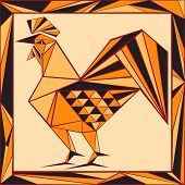 Chinese Horoscope Stylized Stained Glass - Rooster.eps