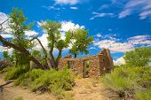 pic of house woods  - Remains of an old stone house with its roof caved in the wilds of Utah - JPG