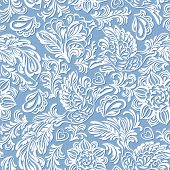 foto of indian blue  - Baroque seamless pattern or background with birds and flowers in blue style - JPG