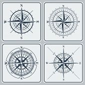 Set of compass roses or windroses . Vector illustration.