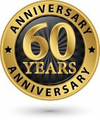60 Years Anniversary Gold Label, Vector Illustration
