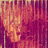 Abstract composition on textured, vintage background with grunge stains. With different color patterns: red, orange, purple (violet)