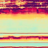 Abstract composition on textured, vintage background with grunge stains. With different color patterns: yellow, red, orange, purple (violet), blue