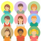stock photo of avatar  - Set of flat stylized avatars of different happy smiling kids on colored circles - JPG