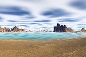 3D Rendered Fantasy Alien Planet. Beach