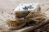Natural lavender soap with lavender seeds