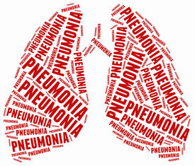 image of pneumonia  - Word cloud illustration related to pneumonia - JPG