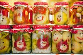 pic of pickled vegetables  - Funny jars of pickled vegetables on town market Budapes Hungary - JPG