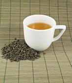 pic of black tea  - White cup of black tea with the heap of tea over bamboo mat - JPG