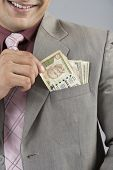 pic of indian currency  - Businessman with Indian five hundred rupee banknotes in his pocket - JPG