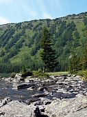 Falling-home from stones between the bottom and average lake Mult, mountain Altai 8