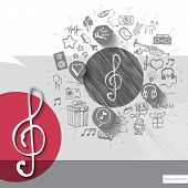 foto of clefs  - Hand drawn treble clef icons with icons background - JPG