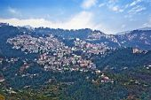 stock photo of himachal pradesh  - High angle view of buildings on a mountain - JPG