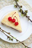 foto of bonaparte  - Napoleon cake with cherries on a plate - JPG