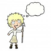 foto of spears  - cartoon crazy woman with spear with thought bubble - JPG