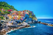 image of architecture  - Beautiful colorful cityscape on the mountains over Mediterranean sea - JPG