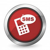 stock photo of sms  - sms red icon phone sign  - JPG
