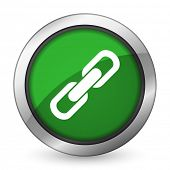 stock photo of chain  - link green icon chain sign  - JPG