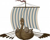 stock photo of viking ship  - Battle ancient Viking ship under sail and oars - JPG