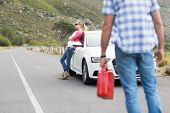 foto of nervous breakdown  - Couple after a car breakdown at the side of the road - JPG