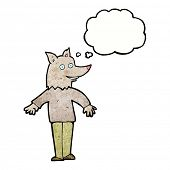 foto of werewolf  - cartoon happy werewolf with thought bubble - JPG