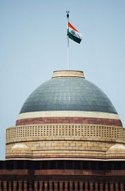 picture of rashtrapati  - Indian flag over a government building - JPG
