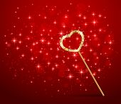 picture of faerie  - Golden magic wand with heart on red sparkle background - JPG