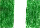 stock photo of nigeria  - Nigeria flag pencil drawing illustration kid style photo image - JPG