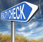 picture of life event  - reality check up for real life events and realistic goals road sign  - JPG