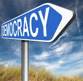 picture of democracy  - democracy and political freedom power to the people after a new revolution for free elections  - JPG