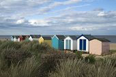 foto of beach hut  - Colourful beach huts at Southwold Suffolk England - JPG