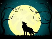 picture of wolf moon  - Vector picture about wolf barking on the moon - JPG
