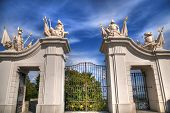 picture of gates heaven  - A White Gate With Angles Statues In The City Of Bratislava In Hdr - JPG