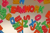 Teamwork Letters On Mirror