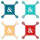 stock photo of ampersand  - Set of four flat simple icons with screws and ampersand - JPG