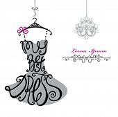 image of little black dress  - Silhouette of woman classic little dress from words My best dress with chandelier - JPG