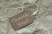 stock photo of thankful  - One Beige Label Or Tag With White Ribbon On Crumpled Paper Background With English Text Thank You Vintage Or Retro Style - JPG