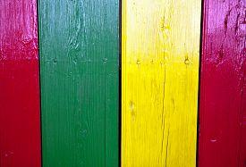 pic of reggae  - Reggae bright colors over wooden door - JPG