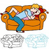 An image of a lovers kissing on the sofa.