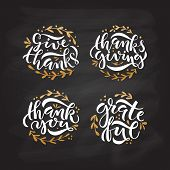 Hand Drawn Thanksgiving Typography Poster Set poster