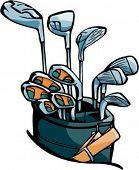 Golf varas com um saco. Cores Pantone. Vetores muito limpos.
