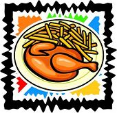 A vector illustration of a chicken with potatoes.