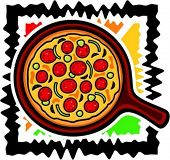 A vector illustration of a pizza.