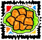 A vector illustration of  chicken nuggets in lettuce.