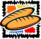 A vector illustration of breads.