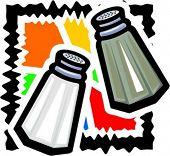 Salt and pepper. Vector illustration.