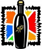 Extra virgin olive oil in a bottle. Vector illustration.