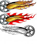 Vector illustration of a rim with fiery wings and burning fire.  The vectors are VERY CLEAN and read