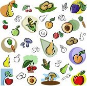 A set of vector icons of fruits and vegetables in color, and black and white renderings.