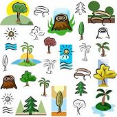 A set of tree and nature scene vector icons in color, and black and white renderings.